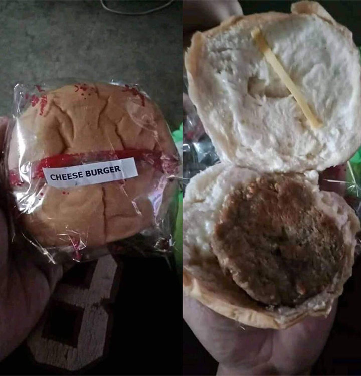 Food fails cheese burger without cheese