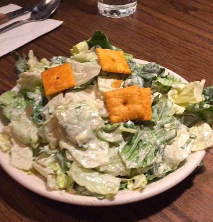 Food fails cheesit salad instead of crouton