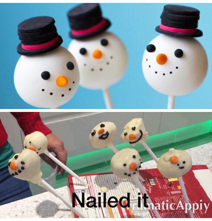 Food fails snow men holiday cake pop