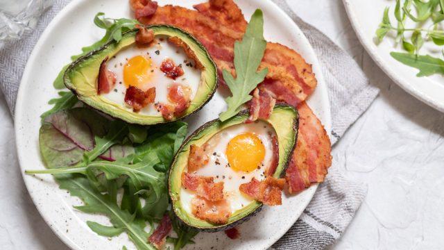 Keto meal avocado egg boats with bacon