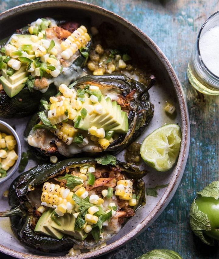 Lightened up salsa verde chicken stuffed poblano peppers recipe blogger