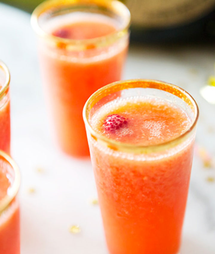 Mango rasberry bellini cocktail blogger