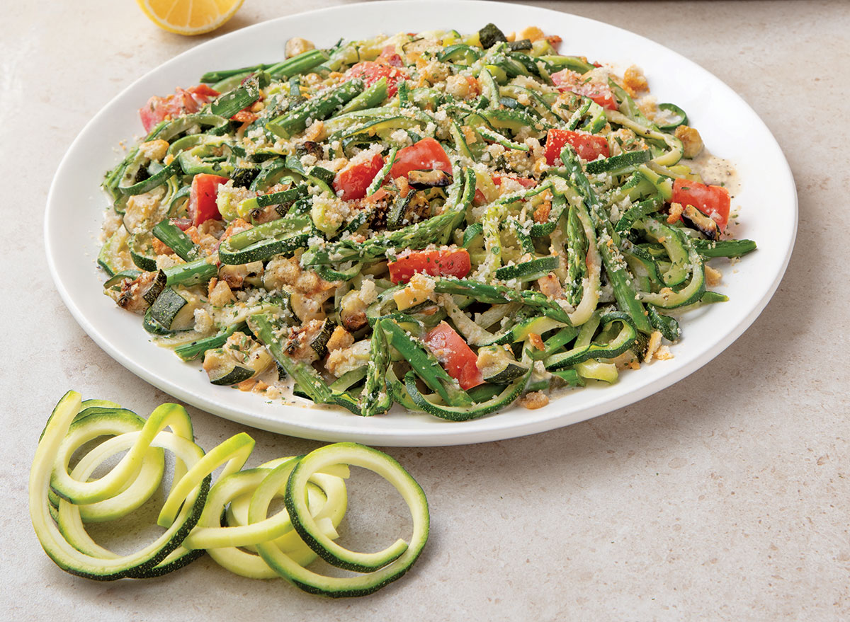 zucchini and asparagus with lemon sauce and zucchini spirals noodles world kitchen