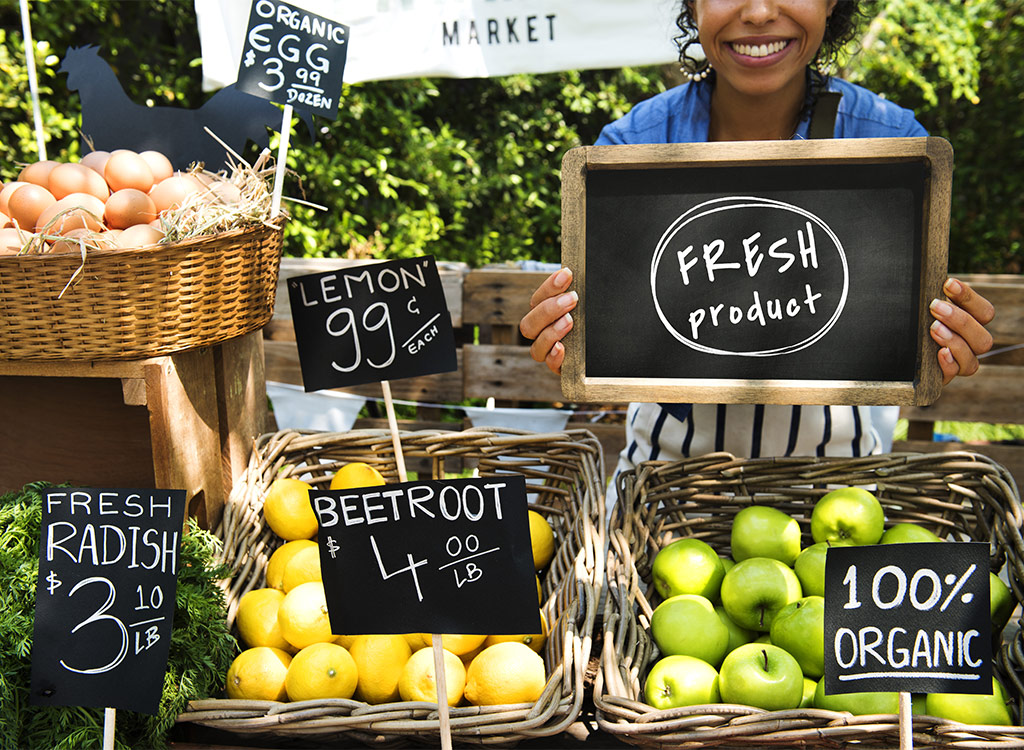 woman smiling at farmers market