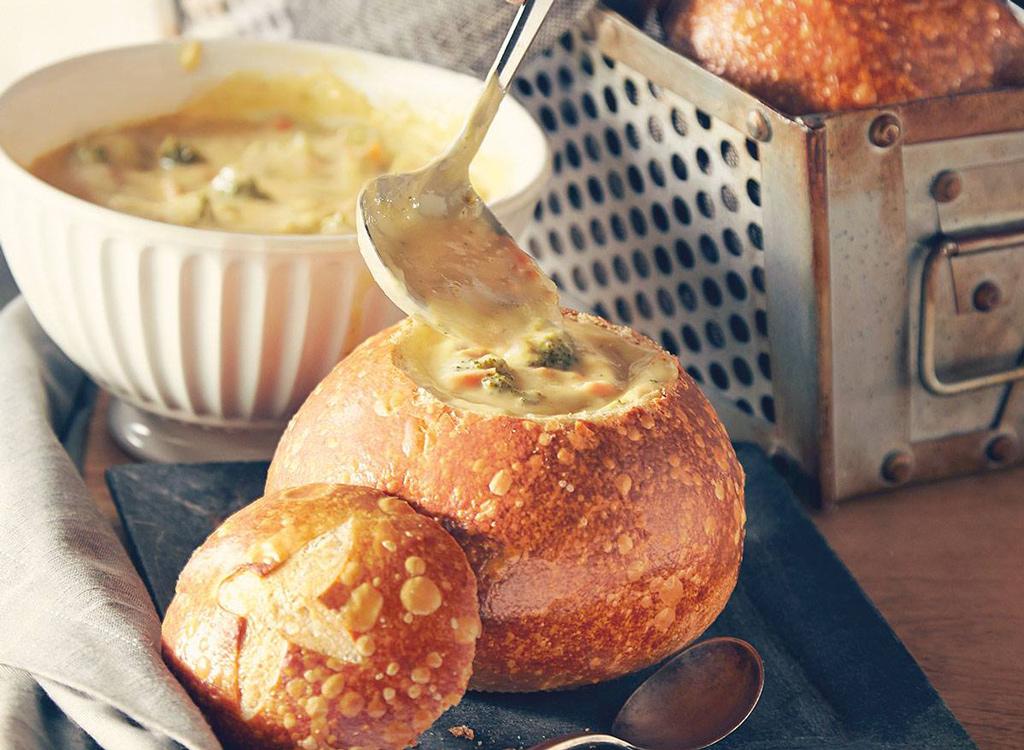 Panera Bread broccoli cheddar soup in bread bowl