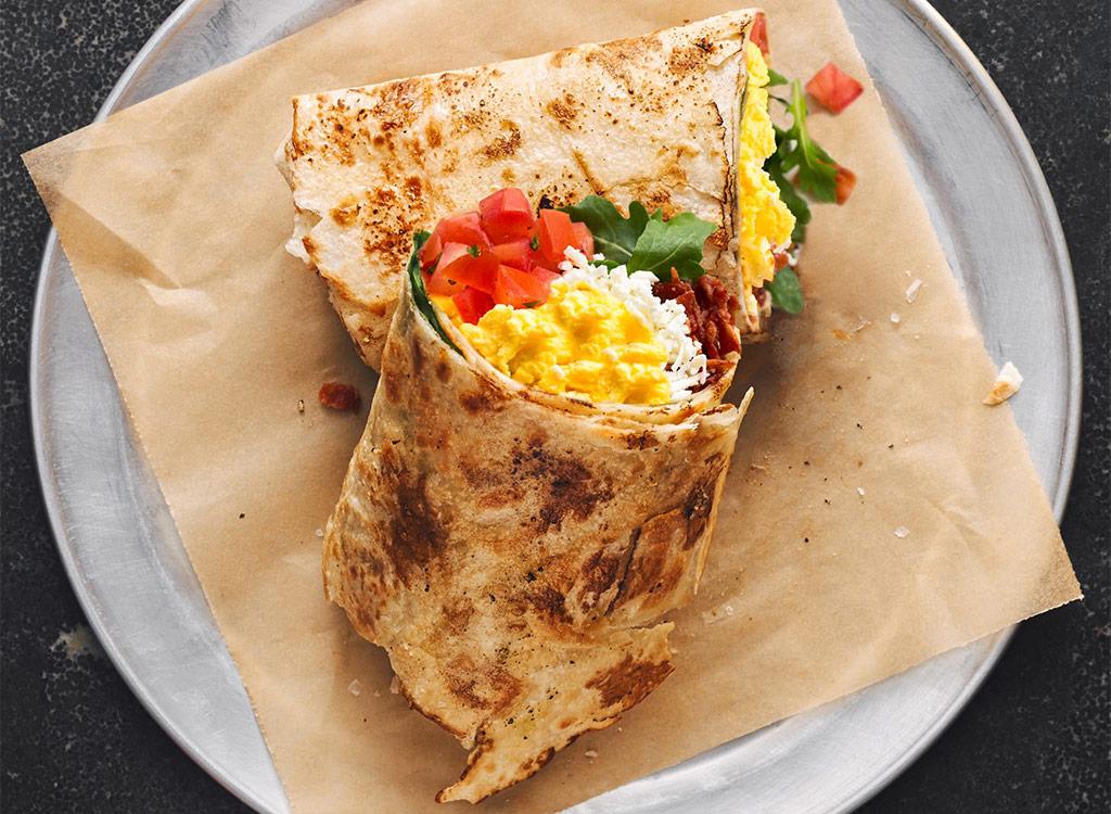 Piada breakfast wrap on plate