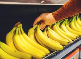 Pick bananas grocery shelf