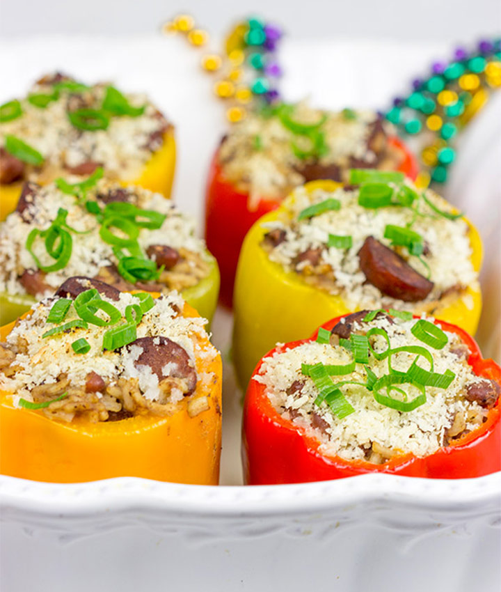 Red bean and rice stuffed pepper recipe blogger