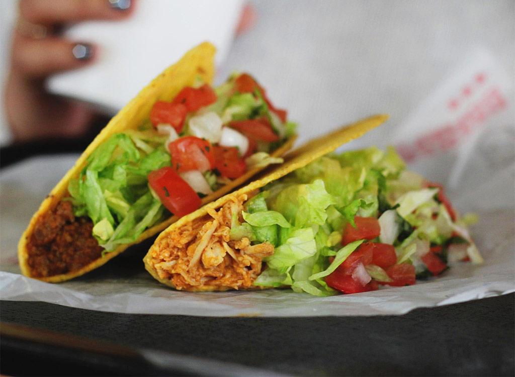 Taco bell burrito and chicken taco