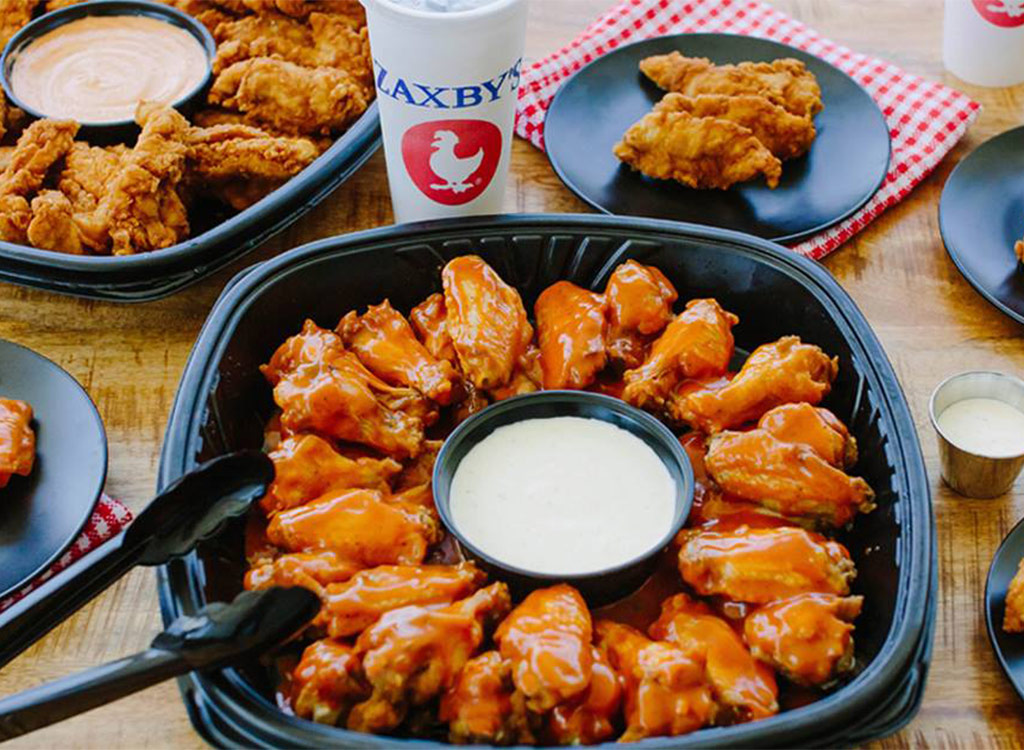 Zaxbys chicken wing plate with ranch in center