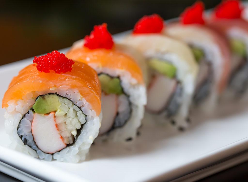 Chili shrimp sushi roll