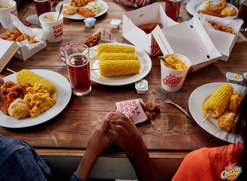 Church's chicken dinner table spread
