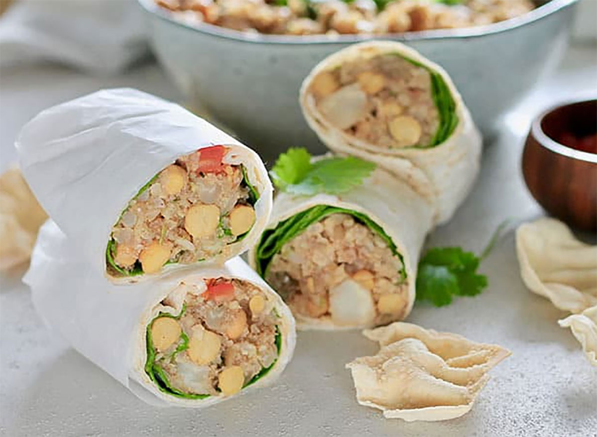 curried cauliflower chickpea wraps