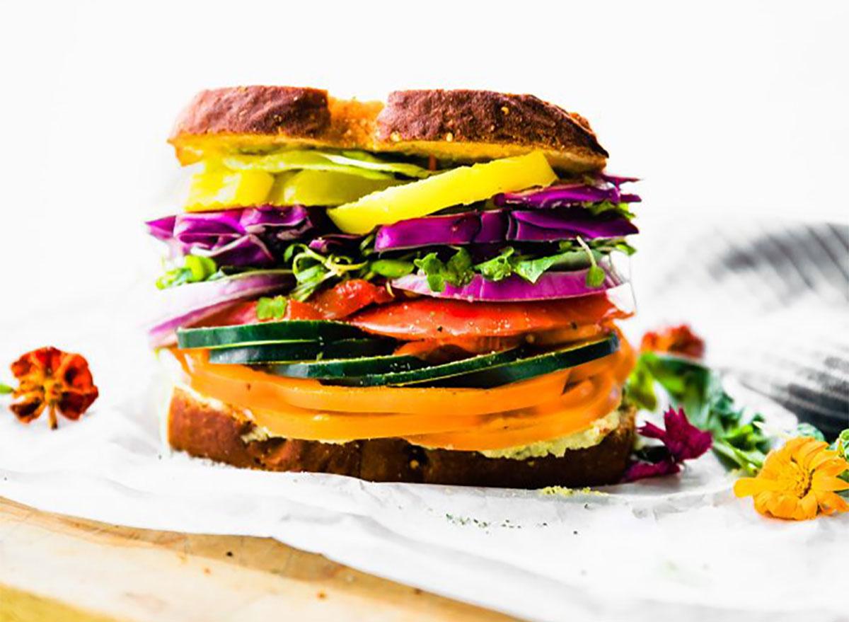 vegetable sandwich piled high