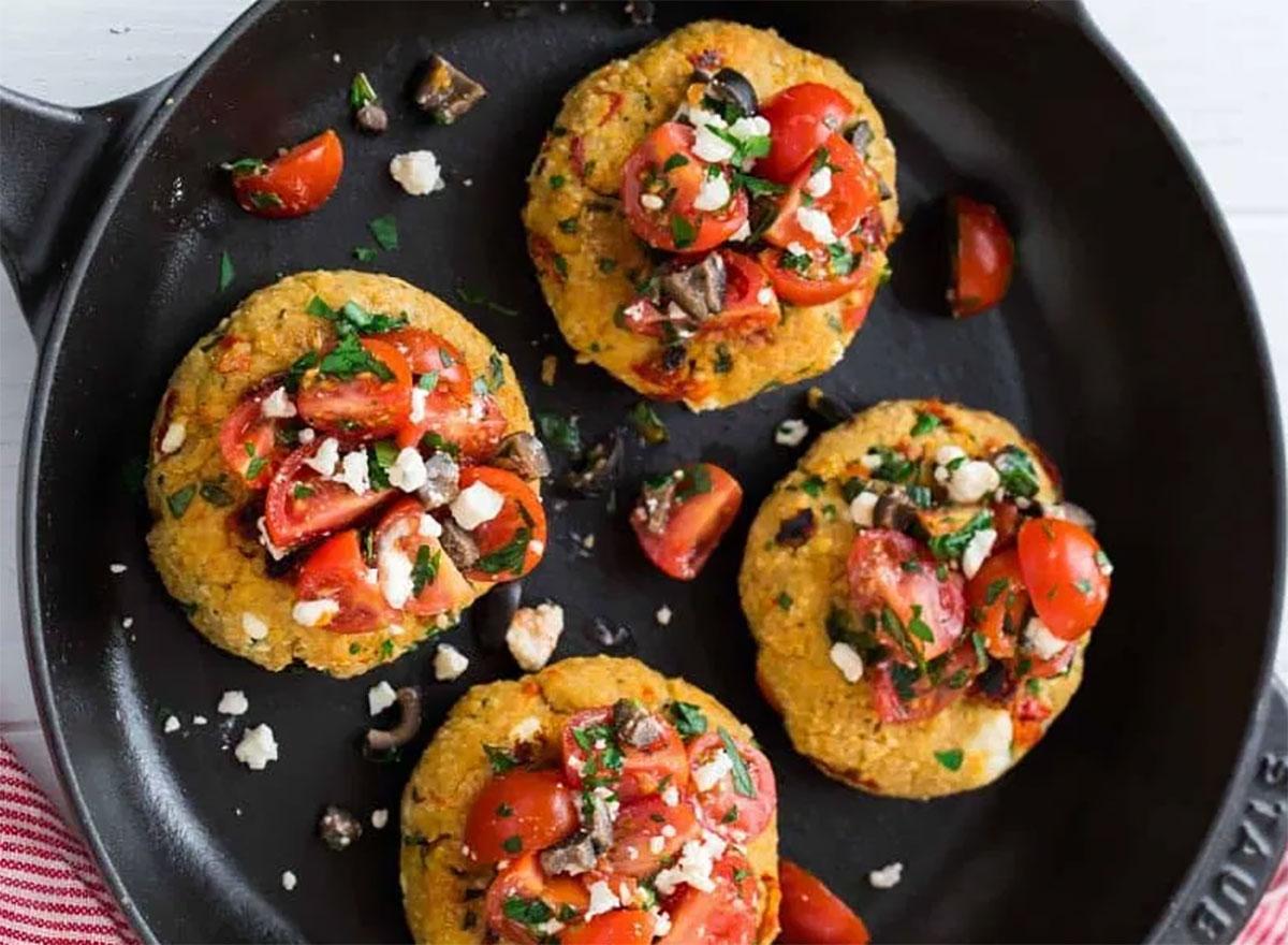 mediterranean quinoa burgers in pan
