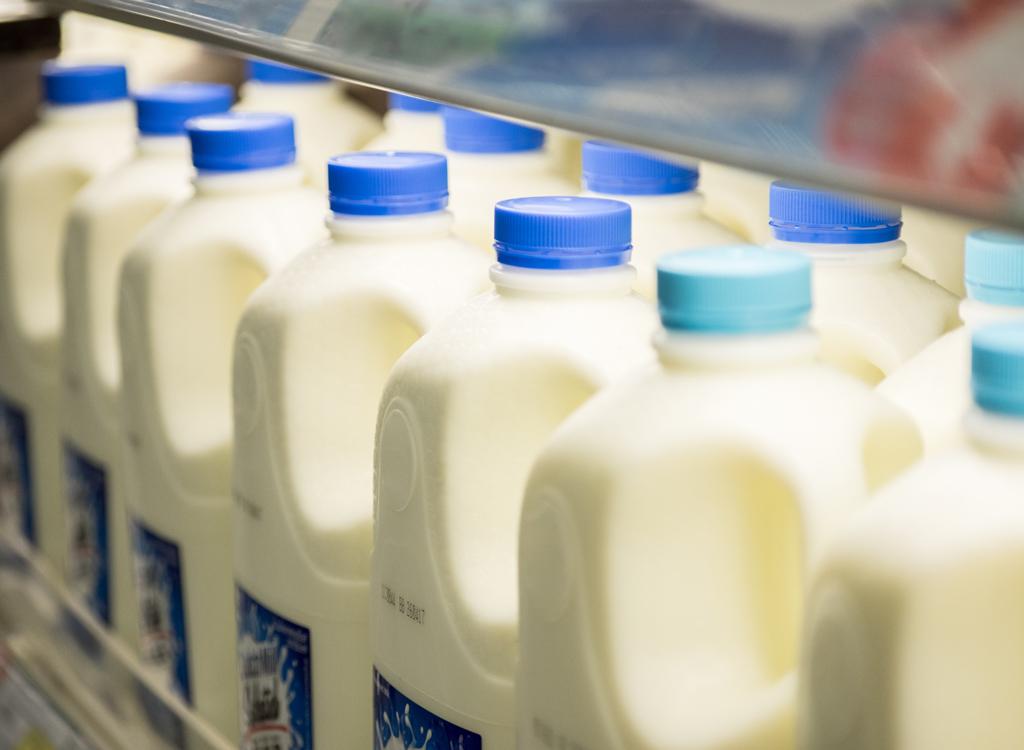 milk jugs on shelf
