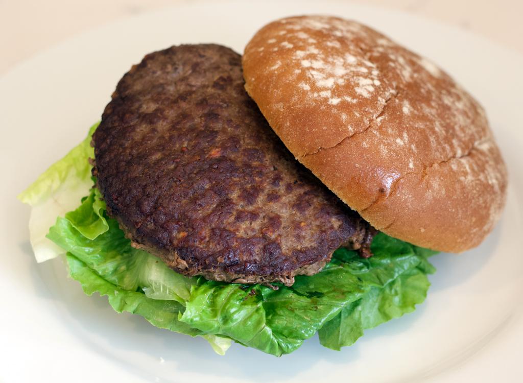 Morans frozen beef burger cooked