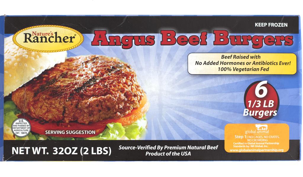 Natures rancher frozen angus beef burger