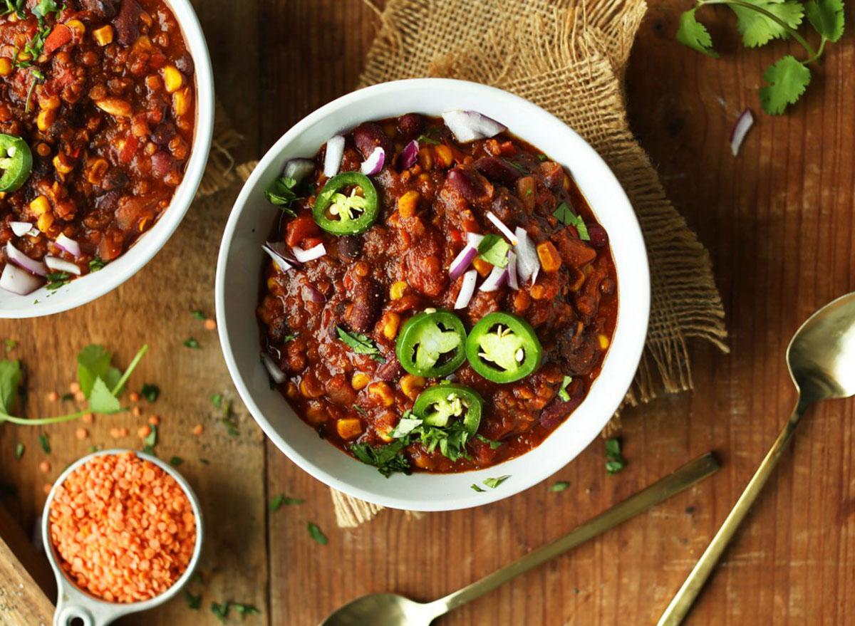 red lentil chili in bowl