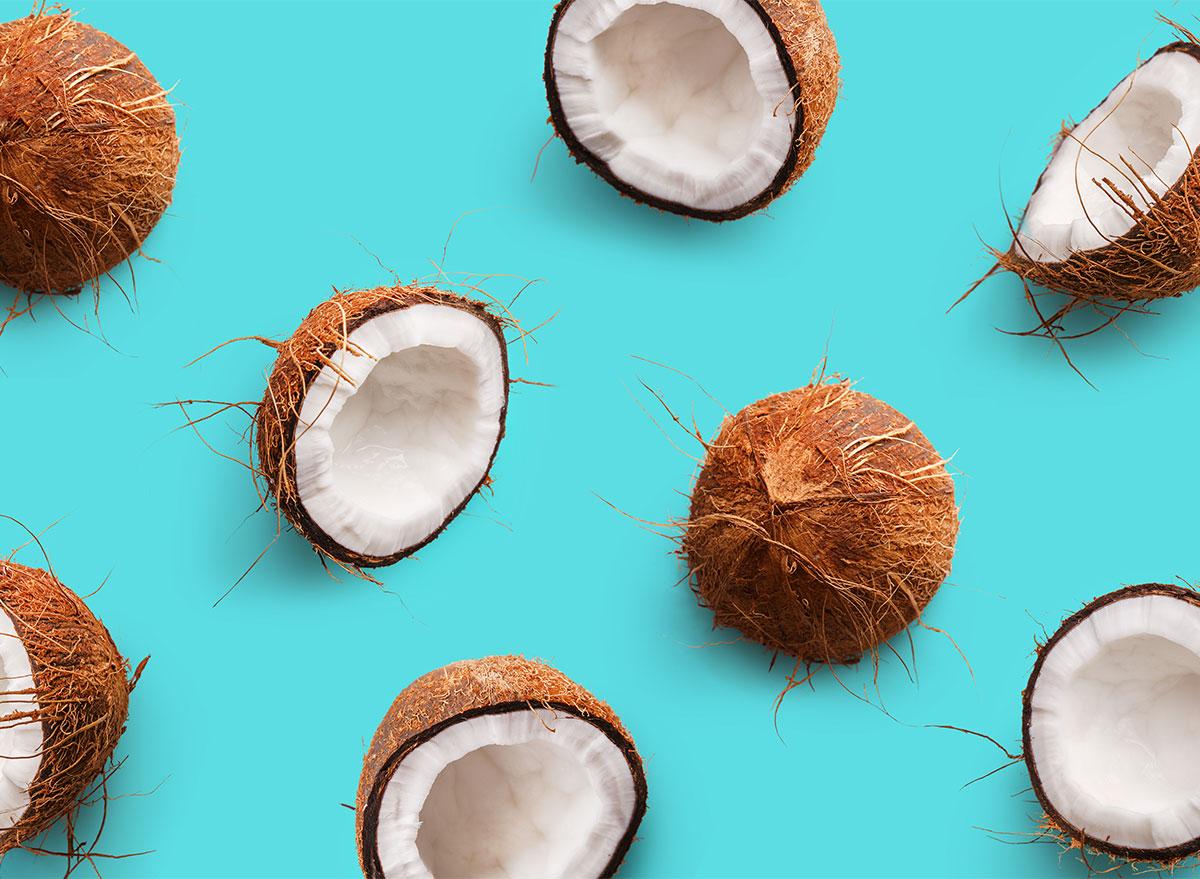 raw coconut halves