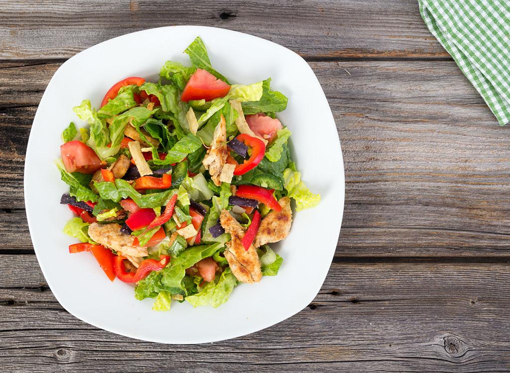 Salad chicken tortilla chips tomatoes