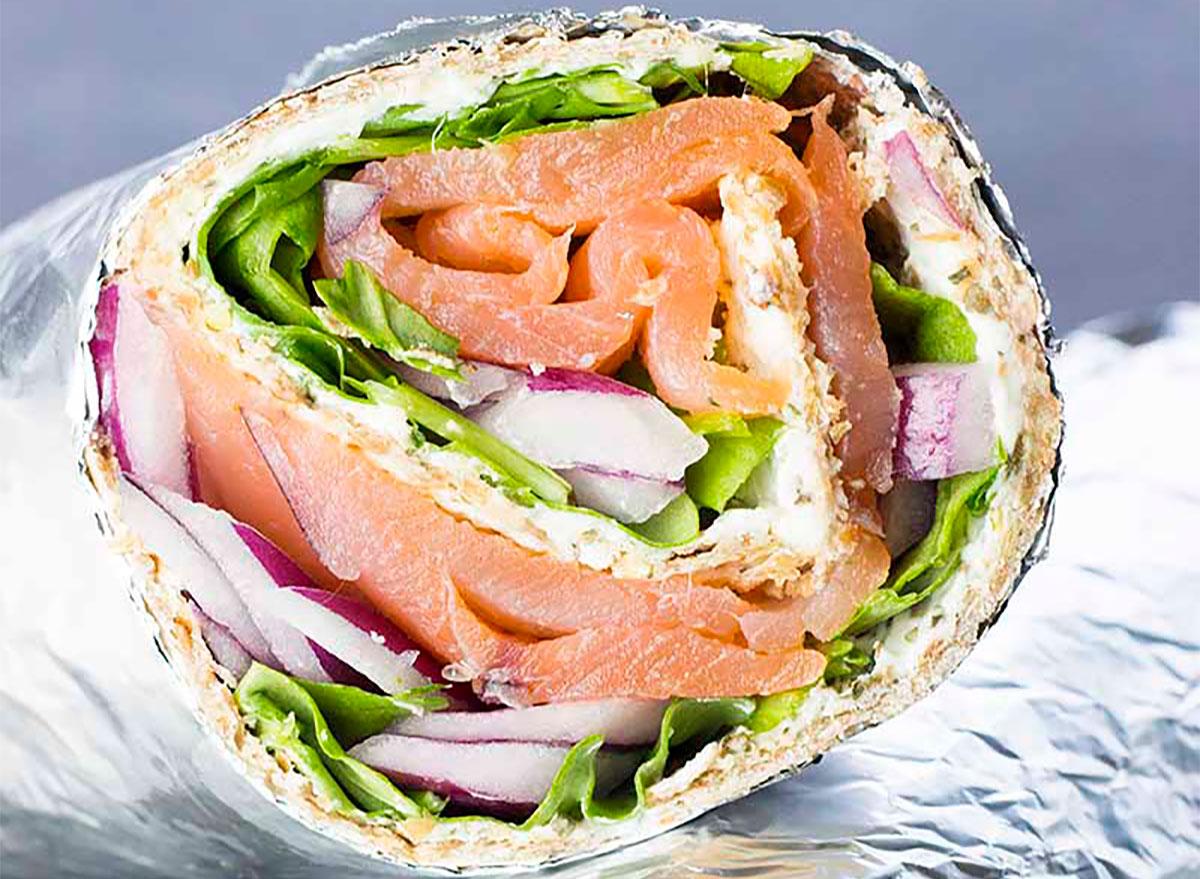 salmon and cream cheese wrap