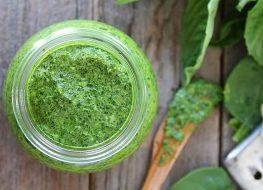 spinach basil pesto in jar