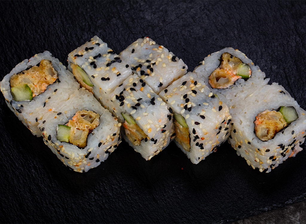 Sushi roll on seaweed paper
