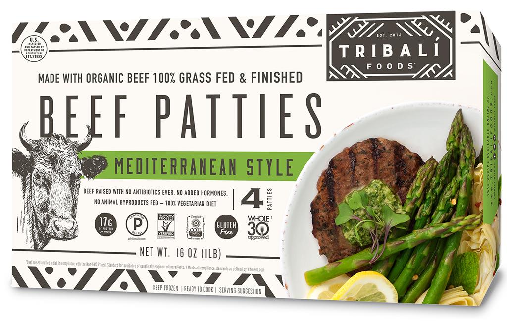 Tribali foods mediterranean style beef frozen burgers
