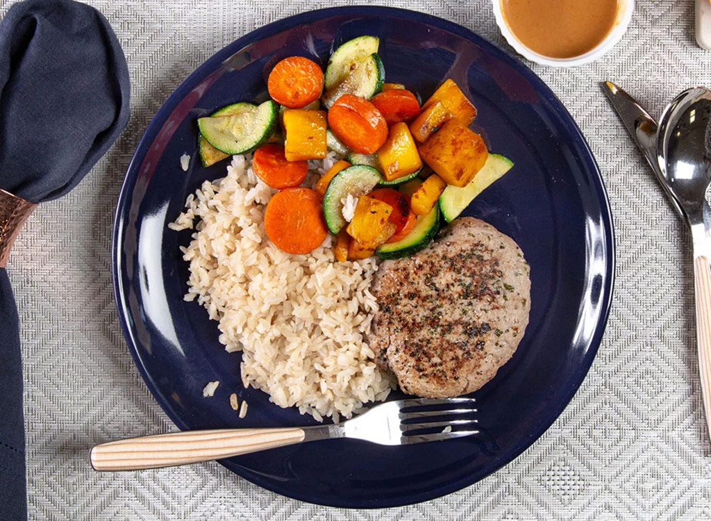 Trifecta turkey patty with brown rice