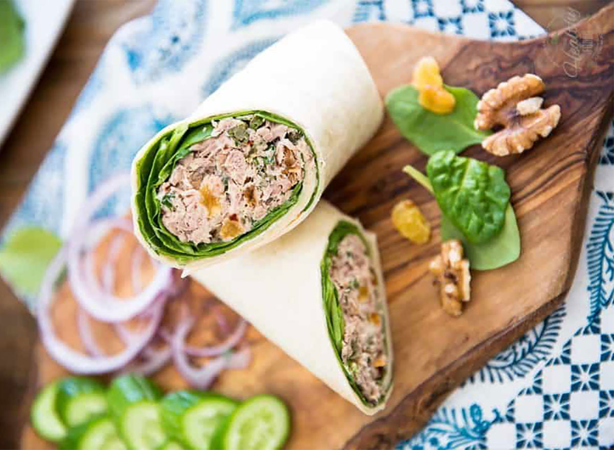 tuna wrap on cutting board