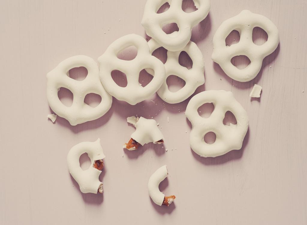 White chocolate pretzels