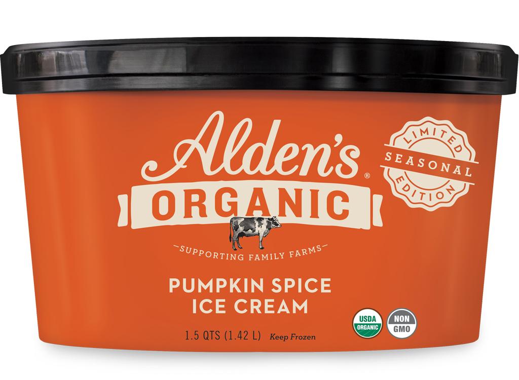 Aldens organic pumpkin spice organic ice cream