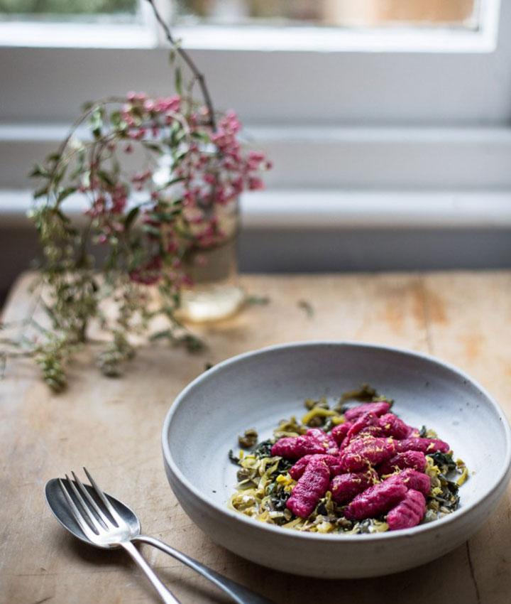Beetroot gnocchi with caper and leek gremolata