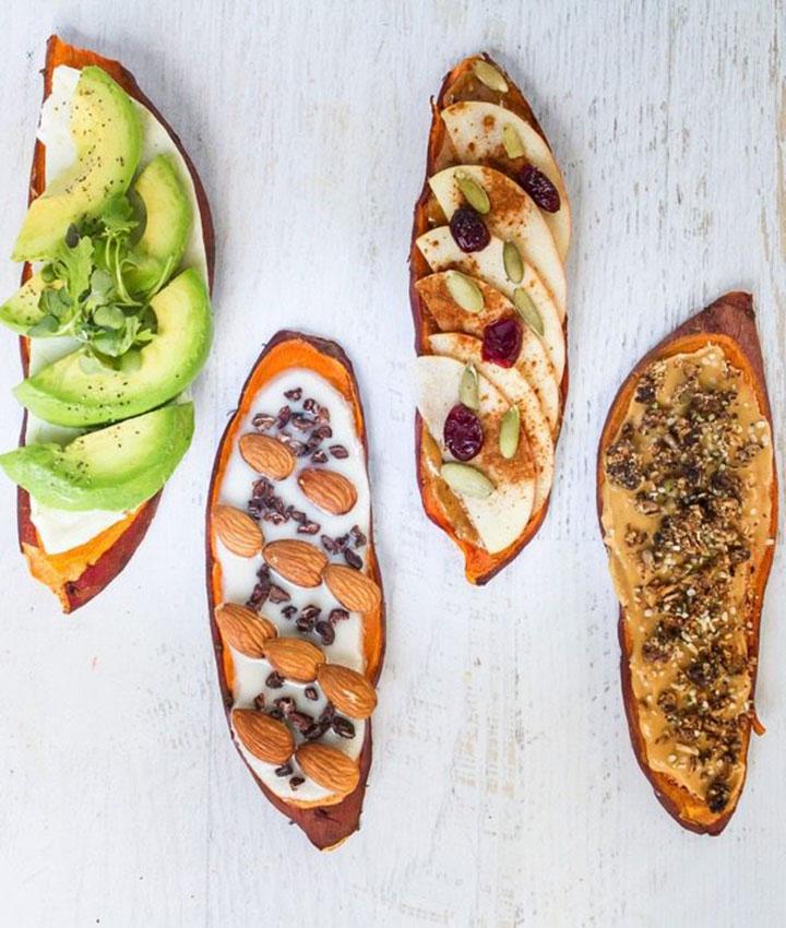 Breakfast sweet potato toast 4 ways