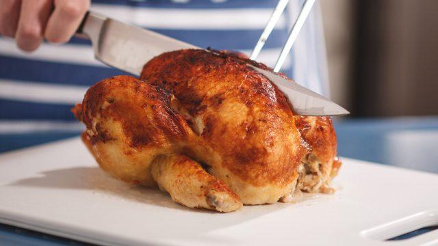 Cutting rotisserie chicken