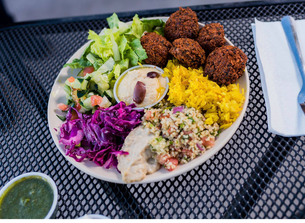 plate of food from garbanzo mediterranean