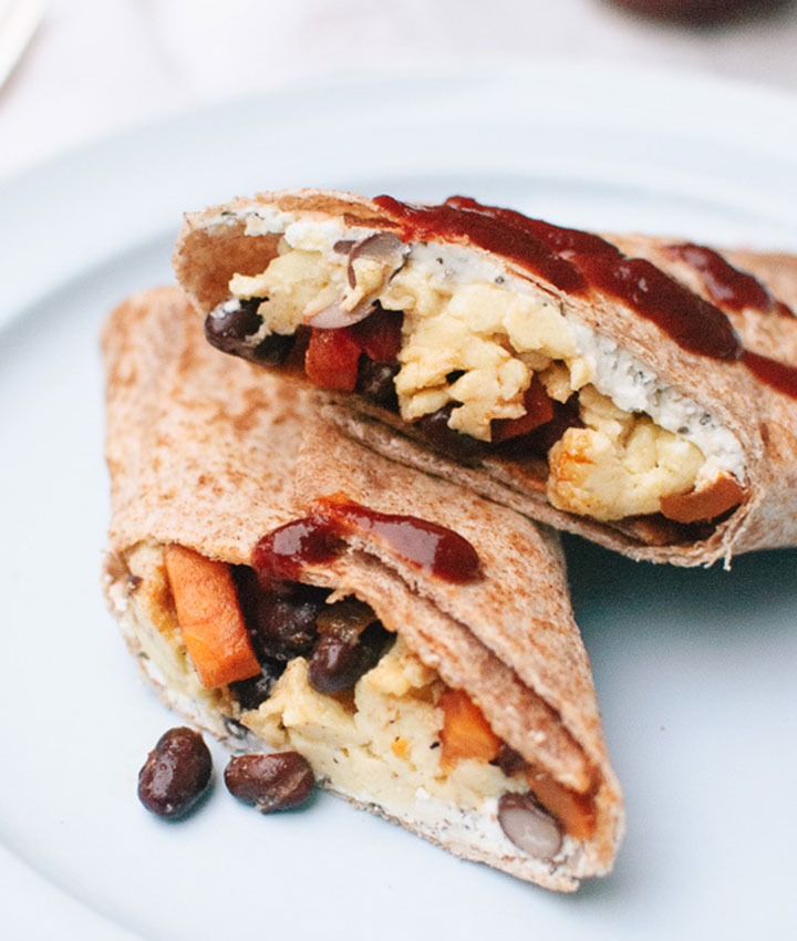 Freezer breakfast burritos with sweet potato hash and black beans