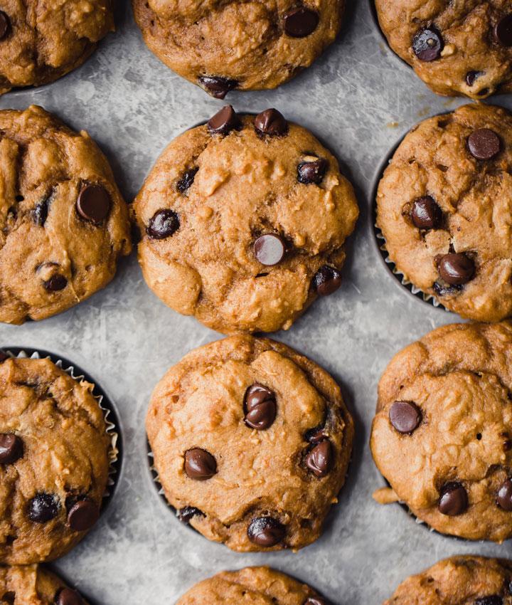Healthy chocolate chip sweet potato muffins