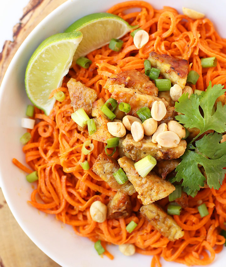 Spiralized sweet potatoes with ginger tempeh