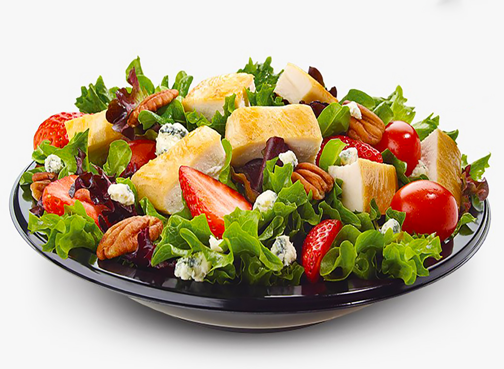 Strawberry fields salad with grilled chicken and raspberry vinaigrette