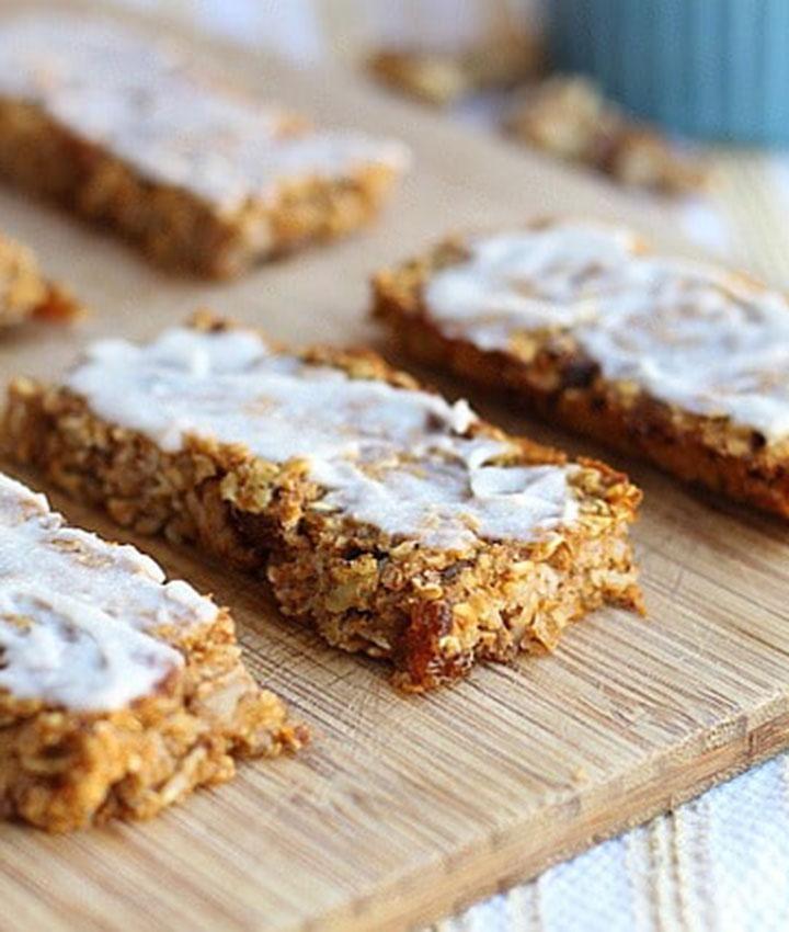 Sweet potato breakfast bars with vanilla coconut butter icing vegan gluten free