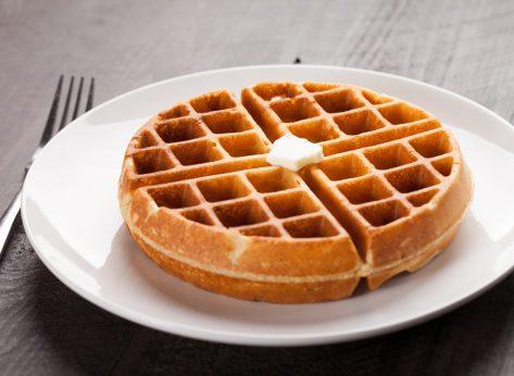 Waffle on plate