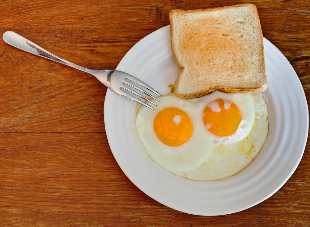White toast with egg