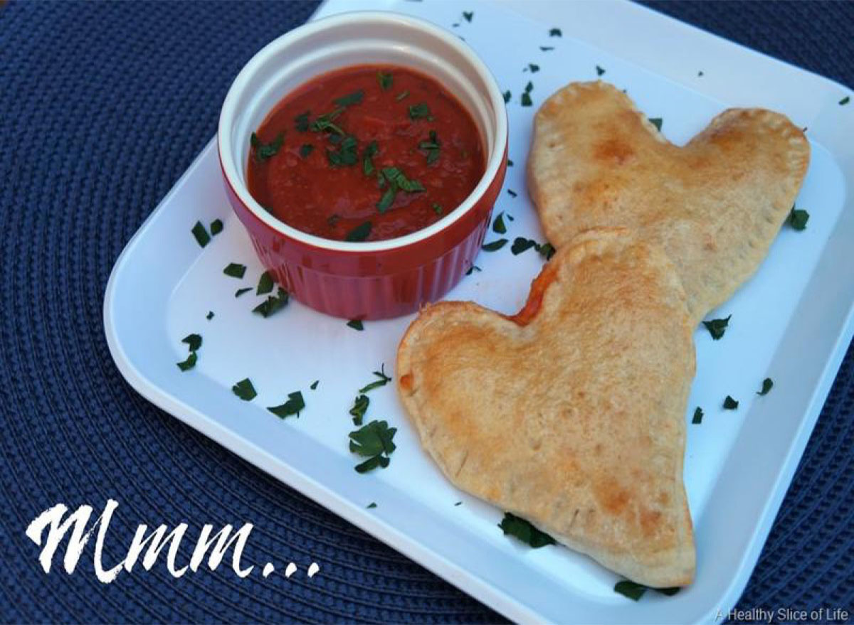 recipes with pizza dough Heart Shaped Veggie Calzones