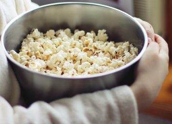 Bowl of air popped popcorn
