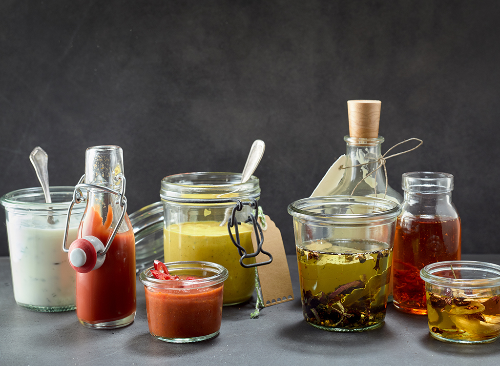 Condiments in jars