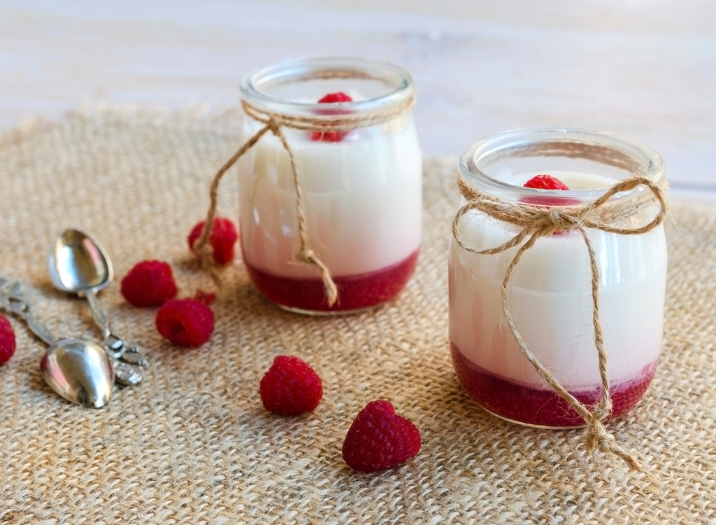 Fruit on the bottom raspberry yogurt jar