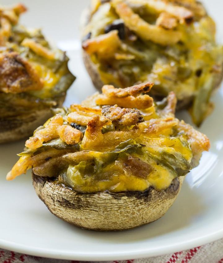 Green bean casserole stuffed mushroom