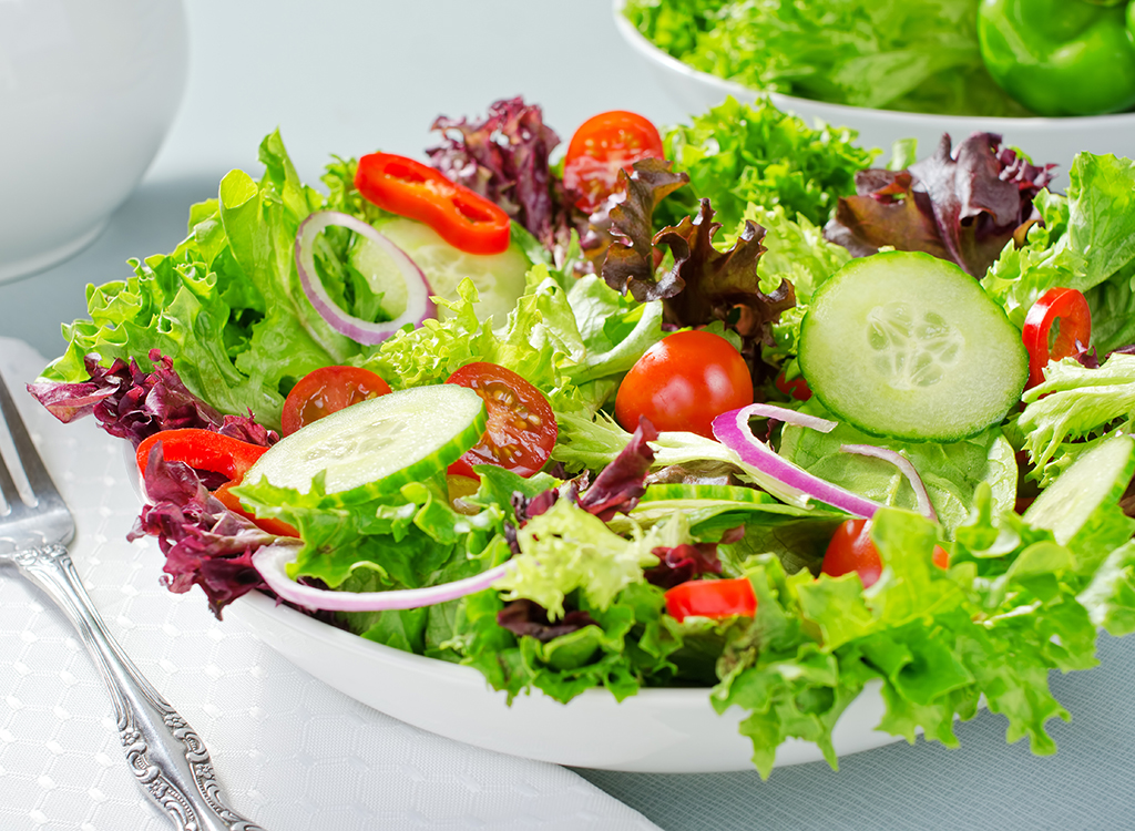house salad with tomatoes cucumbers onion